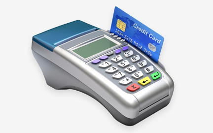Shows Countertop Terminal Equipment for Credit Card Processing