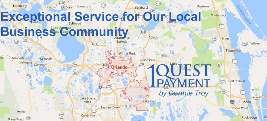 Map of Orlando and 1Quest Payment Logo